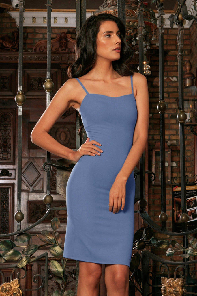 Blue Gray Stretchy Sweetheart Neckline Bodycon Party Dress Women