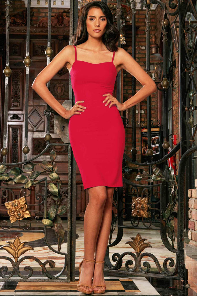 Cherry Red Stretchy Sweetheart Bodycon Party Mini Dress - Women