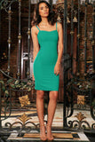Emerald Green Stretch Sweetheart Bodycon Mini Dress - Women