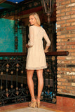 Beige Stretchy Lace Empire Waist Trendy Daytime Mommy and Me Dresses - Pineapple Clothing