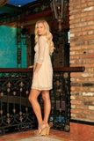 Beige Stretchy Lace Empire Waist Three-Quarter Sleeve Dress - Women - Pineapple Clothing