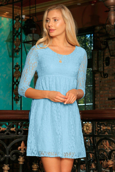 Baby Blue Stretchy Lace Empire Waist Spring Sleeved Dress - Women