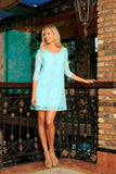 Mint Blue Lace Empire Waist Three-Quarter Sleeve Mother Daughter Dress - Pineapple Clothing