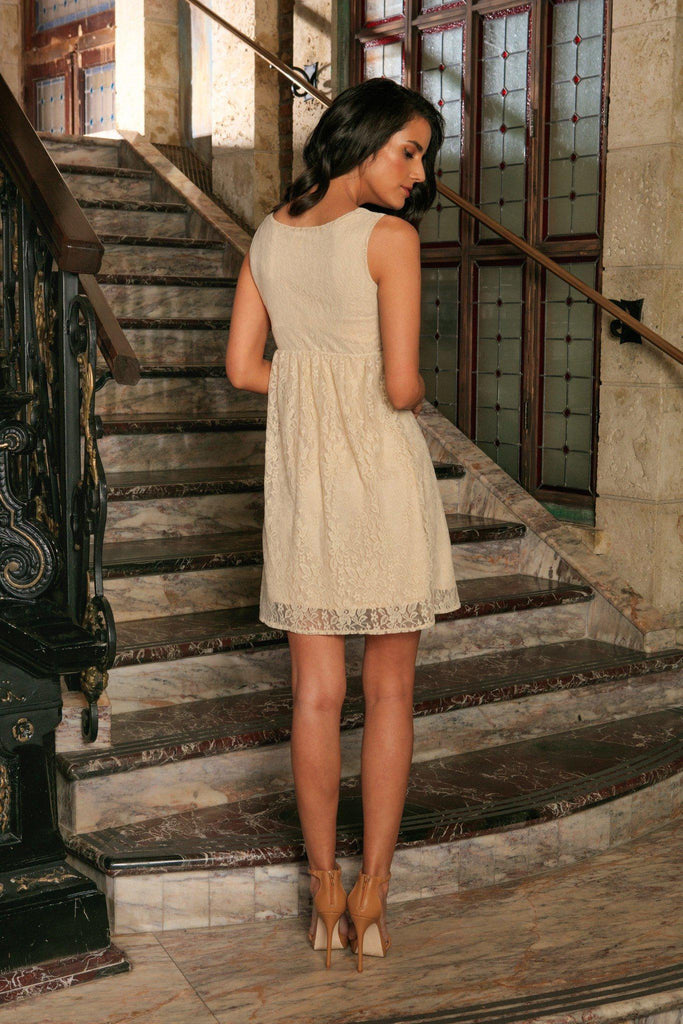 Beige Stretchy Lace Empire Waist Sleeveless Cute Summer Dress - Women - Pineapple Clothing