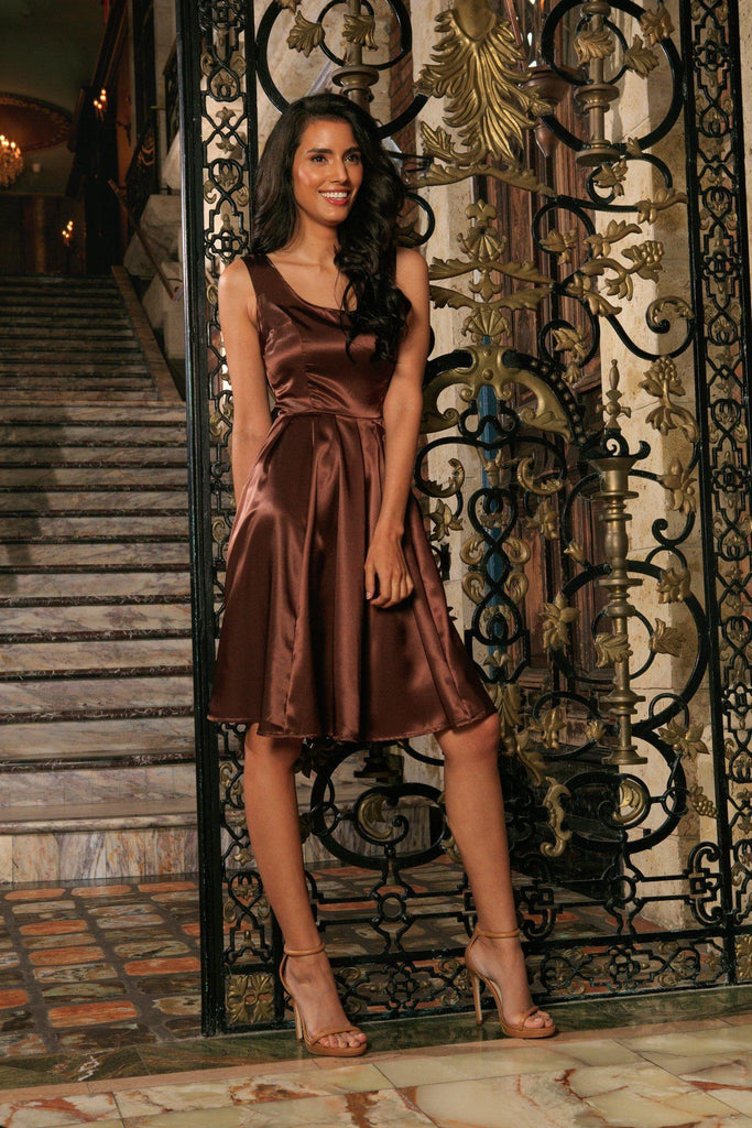 Chocolate Brown Sleeveless Chic Skater Fit Flare Mother Daughter Dress
