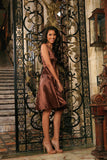 Chocolate Brown Charmeuse Sleeveless Skater Evening Party Dress - Women - Pineapple Clothing