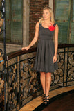 Black Grey Sleeveless Skater Classy Evening Party Midi Dress - Women - Pineapple Clothing
