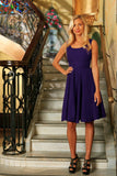 Purple Floral Sleeveless Skater Fit Flare Party Mother Daughter Dress