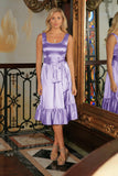 Lavender Fit & Flare Cute Cocktail Ruffle Midi Dress With Belt - Women - Pineapple Clothing