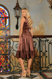 Chocolate Brown Charmeuse Fit & Flare Prom Party Midi Dress - Women - Pineapple Clothing