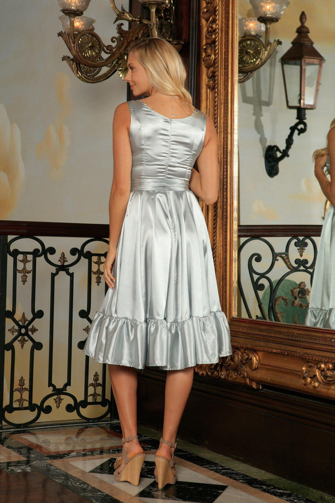 Silver Grey Fit & Flare Ruffle Prom Party Midi Dress With Belt - Women - Pineapple Clothing