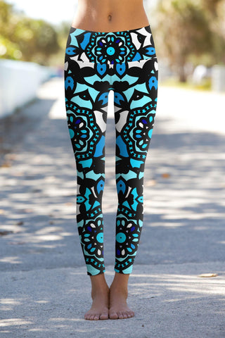 Kaleidoscope Lucy Blue Geometric Print Performance Yoga Leggings - Women - Pineapple Clothing