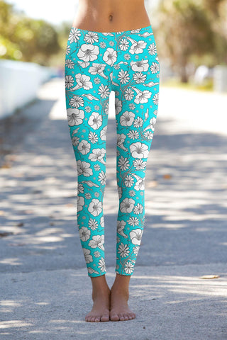 Forever Young Lucy Baby Blue Floral Performance Yoga Leggings - Women
