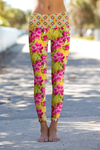 2f1ffc087f817 Indian Summer Lucy Yellow Floral Printed Performance Yoga Pants - Women - Pineapple  Clothing