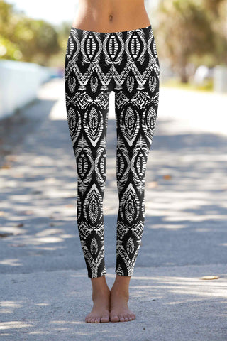 Rebel Lucy Black Aztec Print Performance Leggings Yoga Pants - Women - Pineapple Clothing