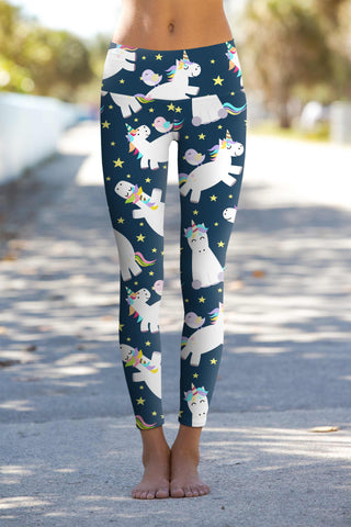 Dreamy Unicorn Lucy Navy Printed Leggings Yoga Pants - Women - Pineapple Clothing