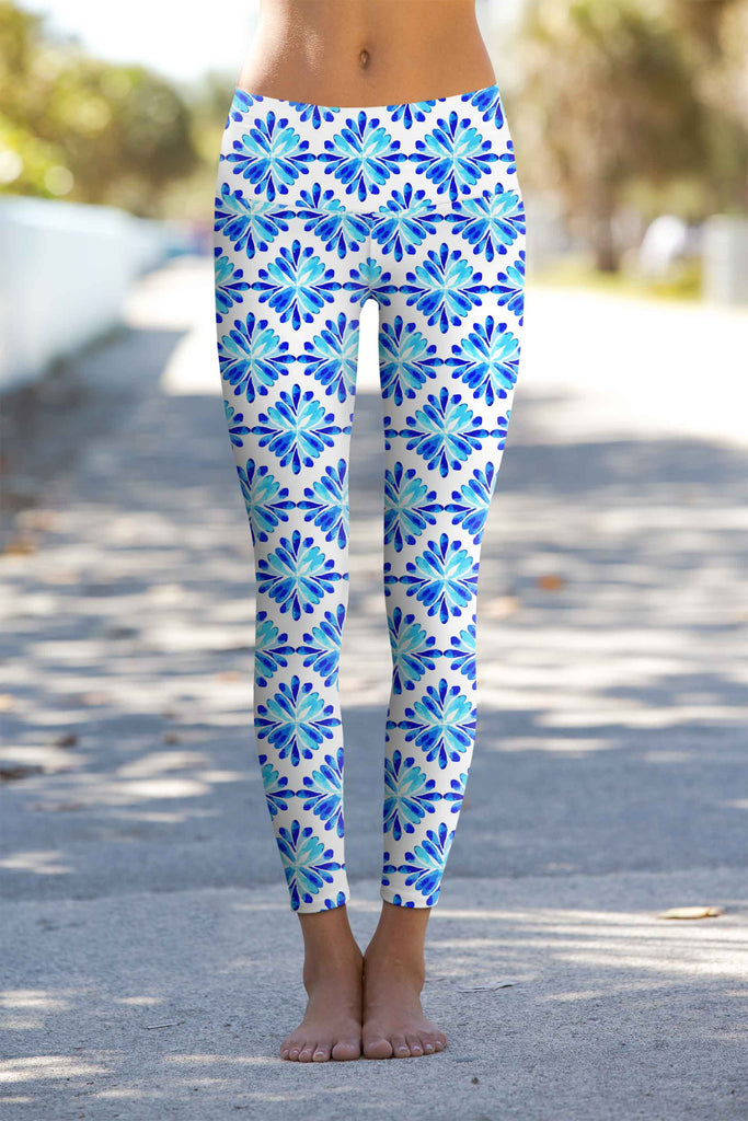 Charisma Lucy White & Blue Printed Leggings Yoga Pants - Women - Pineapple Clothing