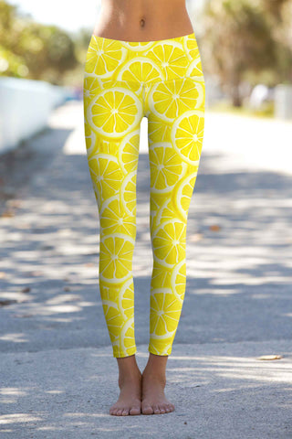 A Piece of Sun Lucy Yellow Lemon Print Leggings Yoga Pants - Women - Pineapple Clothing