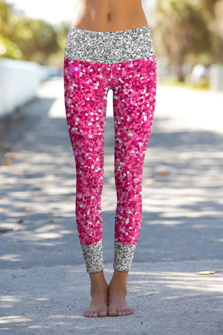 Glam Doll Lucy Pink & Silver Glitter Print Leggings Yoga Pants - Women - Pineapple Clothing