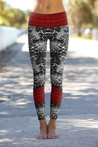 Tribe Lucy Black & Red Aztec Print Leggings Yoga Pants - Women - Pineapple Clothing