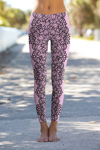 Lady Vamp Lucy Pink Lace Print Leggings Yoga Pants - Women - Pineapple Clothing