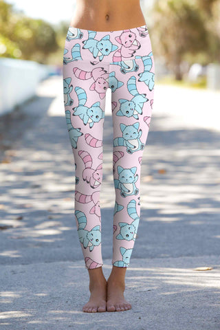 Call Me Kitty Lucy Cute Pink Cat Print Leggings Yoga Pants - Women - Pineapple Clothing