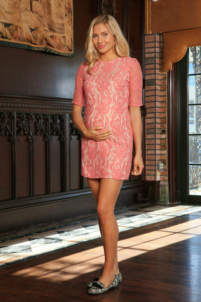 Dusty Pink Lace Elbow Sleeve Shift Chic Party Dress - Women Maternity - Pineapple Clothing