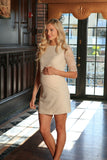 Beige Stretchy Lace Half Sleeve Shift Cocktail Dress - Women Maternity - Pineapple Clothing
