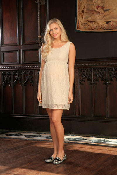 Beige Stretchy Lace Empire Waist Sleeveless Dress - Women Maternity