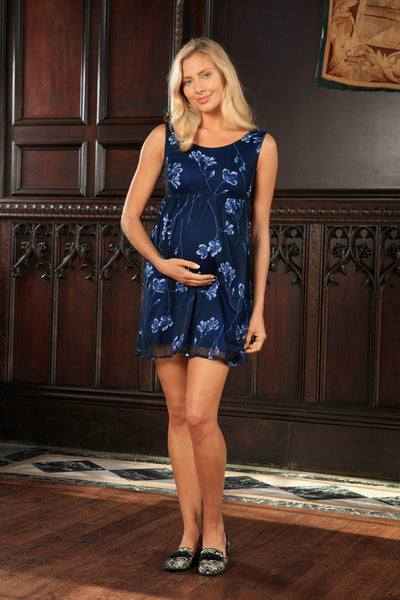 Navy Blue Floral Empire Waist Sleeveless Party Dress - Women Maternity