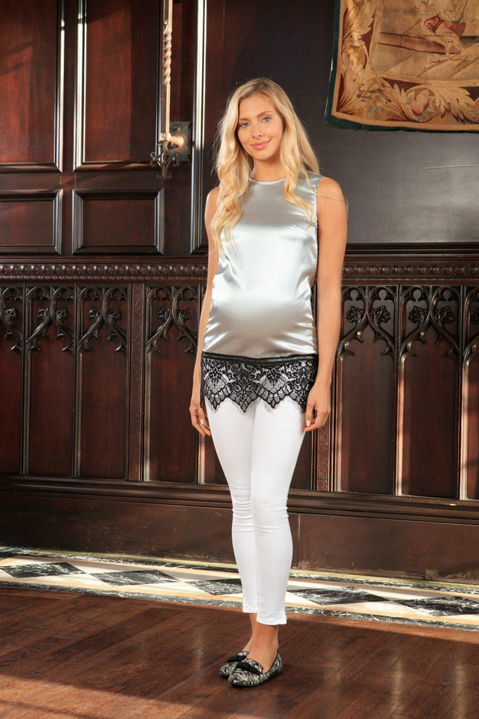 Silver Grey Sleeveless Dressy Party Top With Lace - Women Maternity - Pineapple Clothing