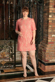 Dusty Pink Lace Elbow Sleeve Chic Party Shift Dress - Women Plus Size - Pineapple Clothing