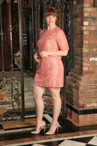 Dusty Pink Lace Elbow Sleeve Chic Party Shift Dress - Women Plus Size