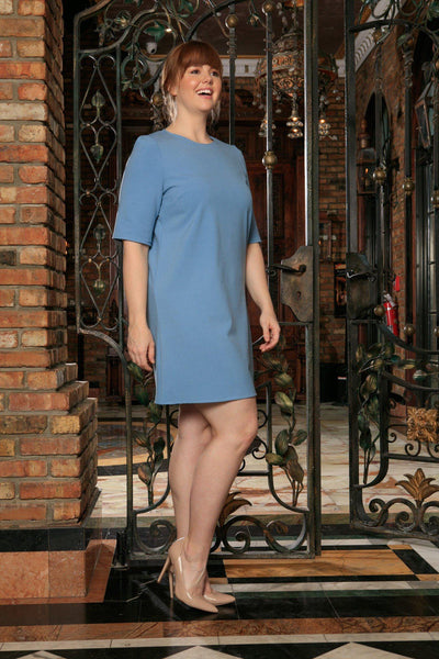 Blue Stretchy Elbow Sleeve Trendy Spring Sexy Shift Dress - Women Plus Size