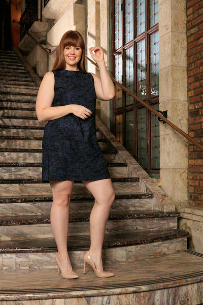 Navy Animal Print Sleeveless Chic Evening Sexy Shift Dress - Women Plus Size
