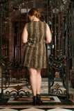 Sage Green Animal Print Sleeveless Party Shift Dress - Women Plus Size - Pineapple Clothing