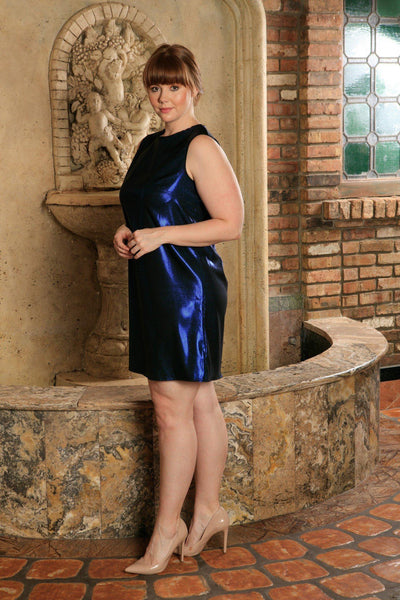 Blue Metallic Sleeveless Evening Party Sexy Shift Dress - Women Plus Size