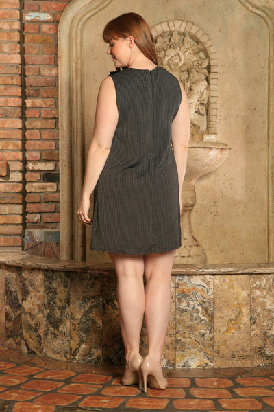 Black Grey Sleeveless Classy Chic Trendy Sexy Shift Dress - Women Plus Size