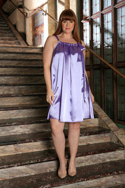 Lavender Charmeuse Halter Swing Summer Party Sexy Dress - Women Plus Size