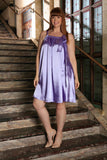 Lavender Charmeuse Halter Swing Spring Party Dress - Women Plus Size - Pineapple Clothing