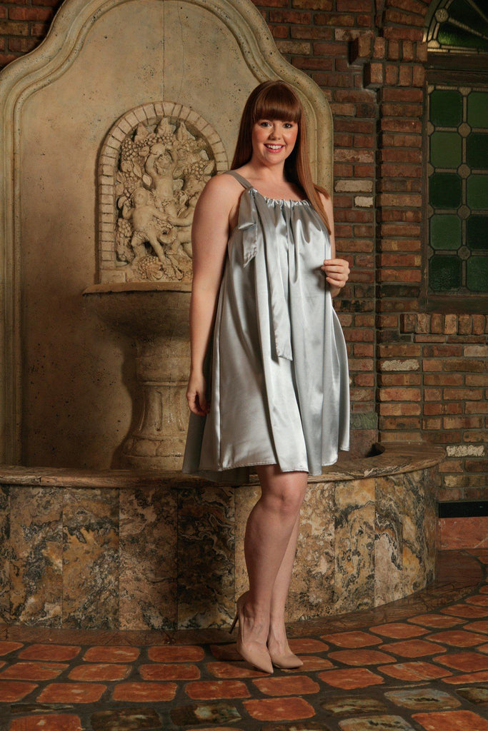 Silver Grey Halter Summer Party Swing Sexy Curvy Dress Women Plus Size - Pineapple Clothing