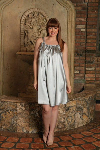 Silver Grey Halter Spring Party Cocktail Swing Sexy Dress - Women Plus Size