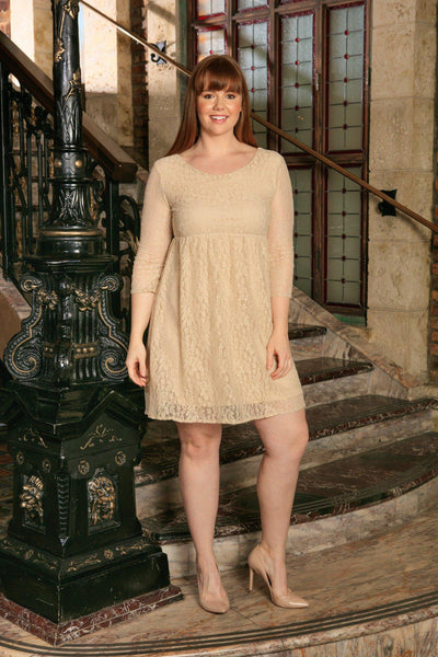 Beige Stretchy Lace Empire Half Sleeve Trendy Dress - Women Plus Size