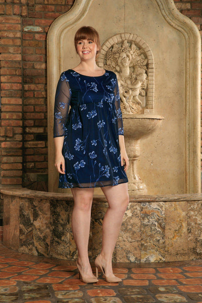 Navy Blue Floral Empire 3/4 Sleeve Evening Sexy Dress - Women Plus Size