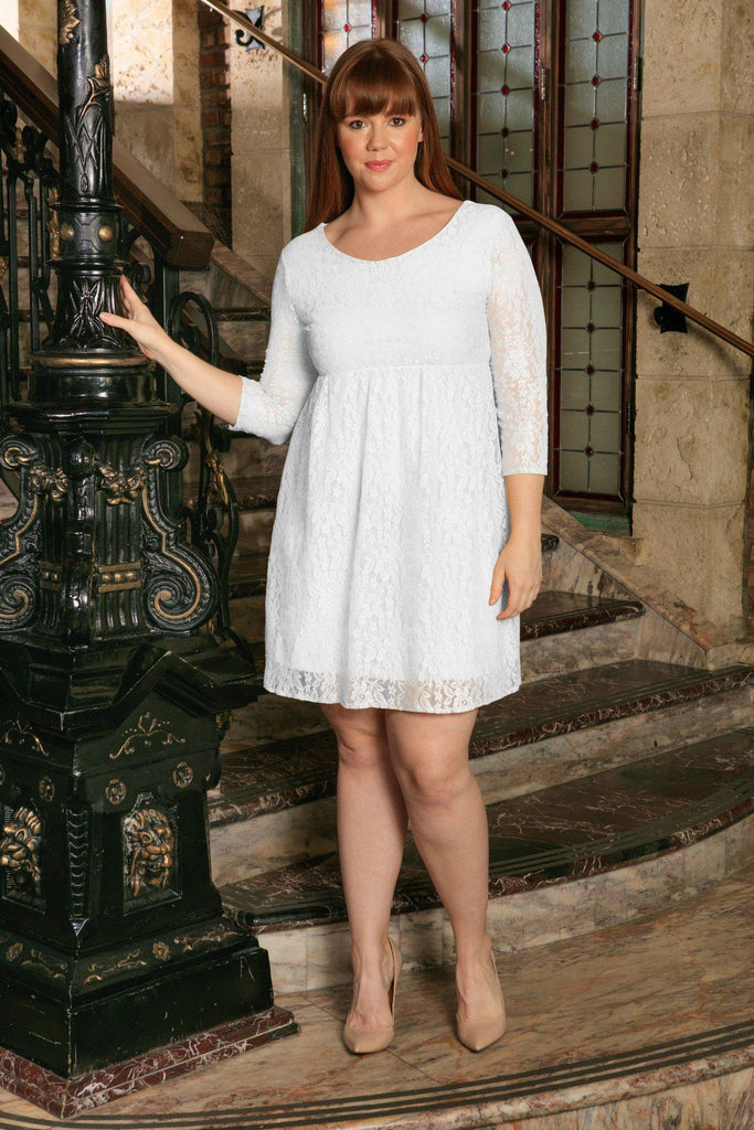 White Stretchy Lace Empire Waist Summer Mommy & Me Dress Plus Size - Pineapple Clothing