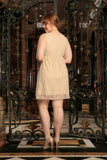 Beige Stretchy Lace Empire Waist Sleeveless Dress - Women Plus Size - Pineapple Clothing