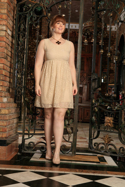 Beige Stretchy Lace Empire Waist Sleeveless Dress - Women Plus Size