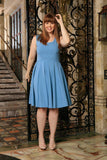 Blue Stretchy Sleeveless Spring Skater Midi Dress - Women - Pineapple Clothing