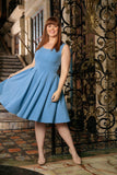 Blue Stretchy Sleeveless Skater Fit & Flare Dress - Women Plus Size - Pineapple Clothing