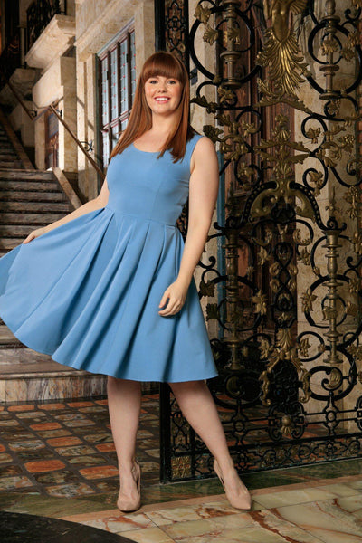 Blue Stretchy Sleeveless Skater Fit & Flare Sexy Dress - Women Plus Size